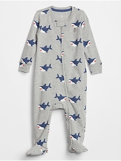 Baby Shark Print Footed Zip One-Piece