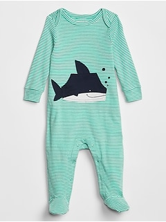 Baby Embroidered Stripe Shark Graphic Footed One-Piece