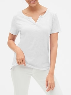 Slub Split-Neck T-Shirt