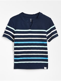 Stripe Notch-Neck T-Shirt