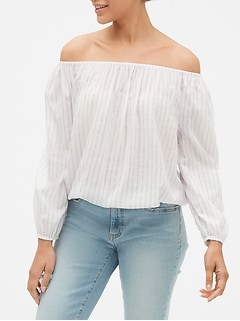 Print Blouson Sleeve Off-Shoulder Top in Weave
