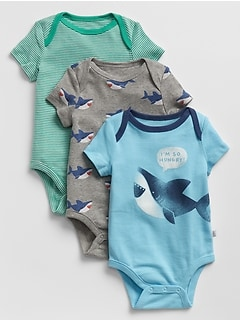 Baby Graphic Short Sleeve Bodysuit (3-Pack)