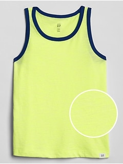 Toddler Contrast-Trim Tank Top in Slub