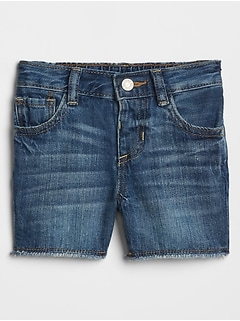 Baby Raw-Hem Denim Shorts