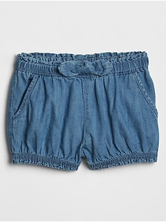 Baby Chambray Bow Shorts