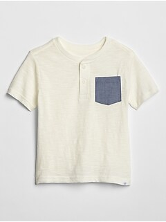 Toddler Contrast Henley Pocket T-Shirt in Slub
