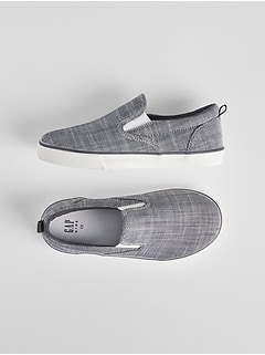 Kids Chambray Slip-On Sneakers