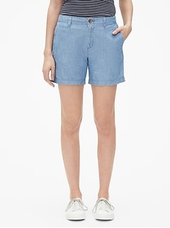 "Mid Rise 5"" City Shorts in Chambray"