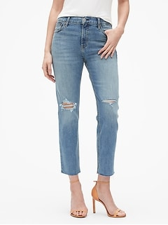 High Rise Destructed Straight Jeans