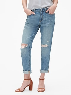 Mid Rise Sexy Boyfriend Jeans with Destruction