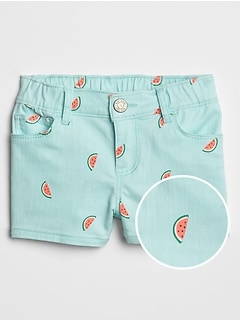 Toddler Watermelon Print Denim Shorts