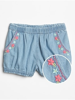 Baby Embroidered Chambray Shorts