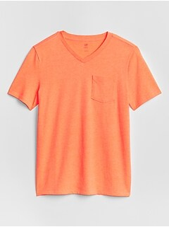 Kids V-Neck Pocket T-Shirt in Jersey