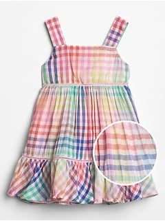 Baby Rainbow Plaid Peplum Dress