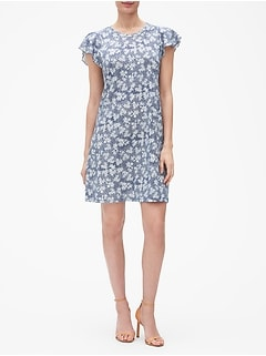 Floral Flutter Dress in Slub Jersey