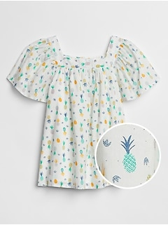 Kids Shirred Print Top