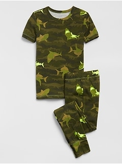 Kids Camo Shark Print PJ Set