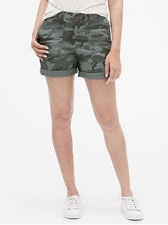 "Mid Rise 5"" Girlfriend Khaki Shorts"