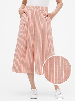 Pleated Crop Pants in Linen-Cotton