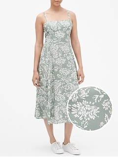 Print Fit and Flare Cami Midi Dress