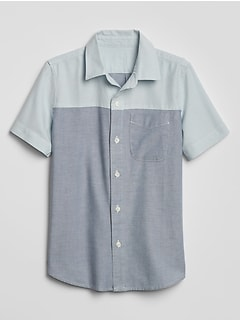 Kids Colorblock Short Sleeve Oxford Shirt
