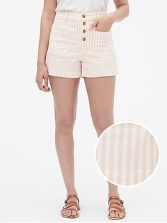"3"" Button-Fly Stripe Shorts"