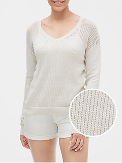 Open-Stitch V-Neck Sweater