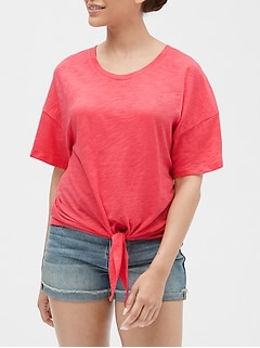 Easy Tie-Front T-Shirt in Slub