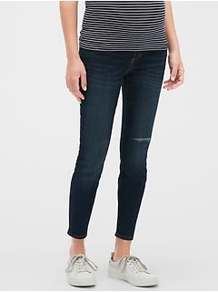 Maternity Destructed Demi Panel Legging Skimmer Jeans