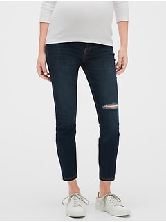 Maternity Destructed Inset Panel Legging Skimmer Jeans
