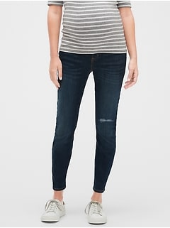Maternity Destructed Full Panel Legging Skimmer Jeans