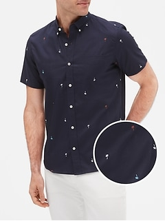 Print Short Sleeve Poplin Shirt