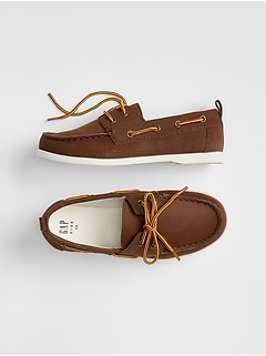 Kids Faux-Leather Boatshoes