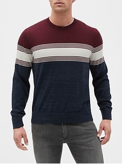 Colorblock Stripe Crewneck Sweater