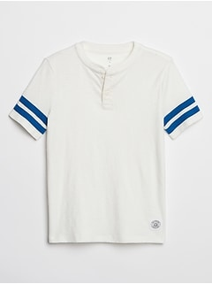 Kids Contrast-Stripe Short Sleeve Henley T-Shirt