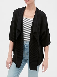 Elbow-Sleeve Open-Front Cardigan