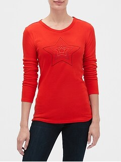 Favorite Long Sleeve Embroidered Crewneck T-Shirt