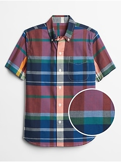 Kids Plaid Short Sleeve Shirt in Poplin