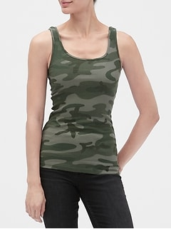 Print Ribbed Tank Top