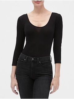 Three-Quarter Sleeve Bodysuit in Jersey