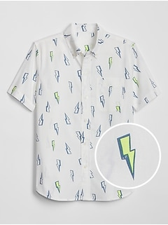 Kids Print Poplin Short Sleeve Shirt