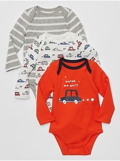 Baby Graphic Long Sleeve Bodysuit (3-Pack)