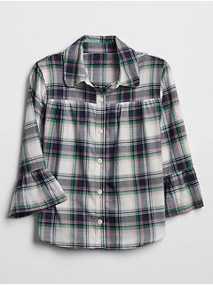 Kids Ruffle Plaid Shirt
