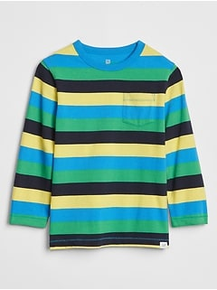 Toddler Stripe Long Sleeve Pocket T-Shirt