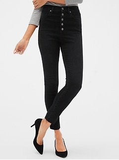 Sky High Button-Front Legging Skimmer Jeans