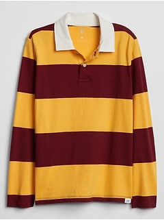 Kids Rugby Stripe Long Sleeve Polo Shirt