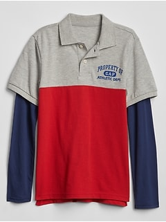 Kids Gap Logo 2-in-1 Pique Polo Shirt