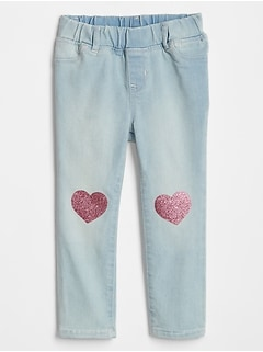 Toddler Glitter Heart Jeggings with High Stretch
