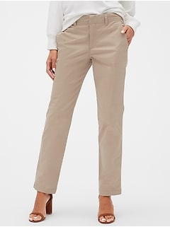 Mid Rise Khakis in Straight Fit