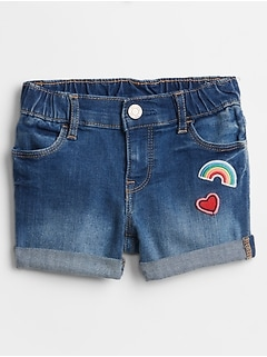 Toddler Embroidered Patch Shortie Shorts